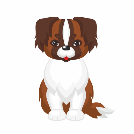 st  bernard: Vector image of a cute purebred dogs in cartoon style. Illustration