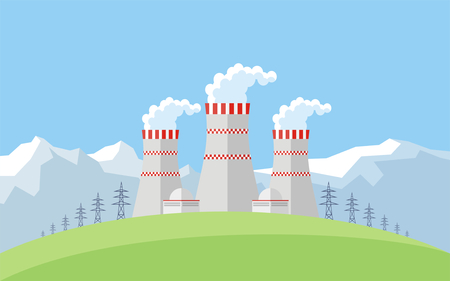 Abstract image of a nuclear power plant. Vector