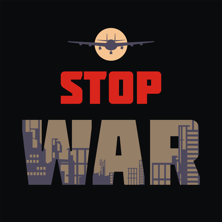 antiwar: The antiwar poster with the image of the city destroyed by bombings. Vector illustration.