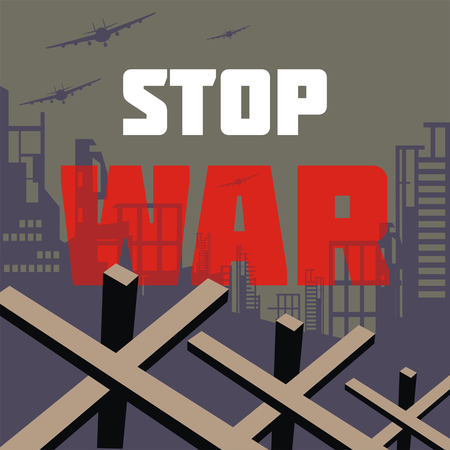 bombings: The antiwar poster with the image of the city destroyed by bombings. Vector illustration.