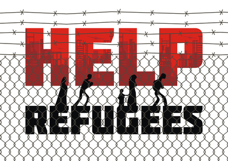 bleak: The propaganda poster about refugees and illegal migrants. Vector illustration. Illustration