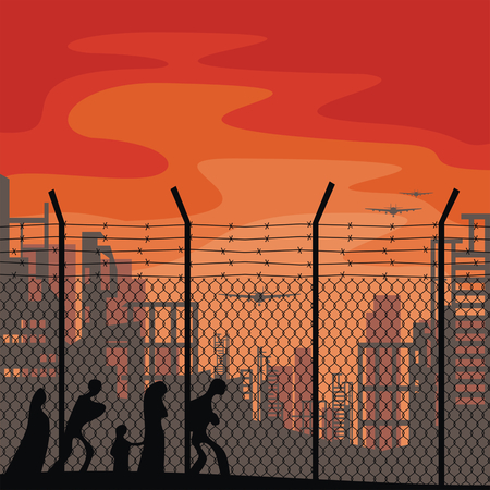 conflagration: The propaganda poster about refugees and illegal migrants. Vector illustration. Illustration