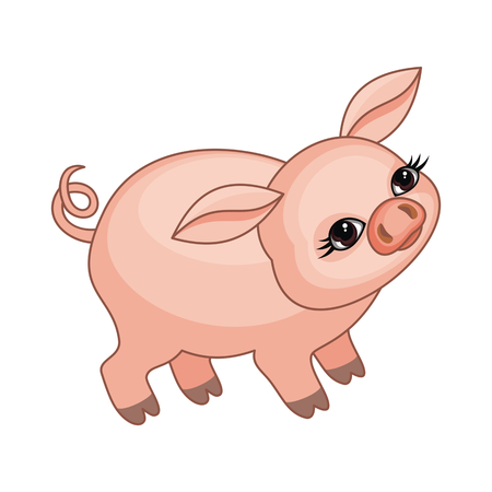 The vector image of a ridiculous pig in cartoon style isolated on a white background Illustration
