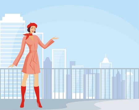 specifies: The image of the beautiful young woman against the background of a city landscape. Illustration