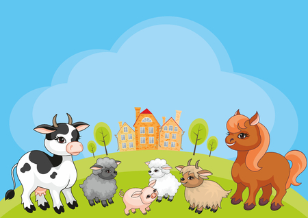 Vector kids background with the image of a rural landscape and funny farm animals