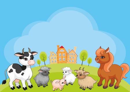 Vektor scherzt Hintergrund mit dem Bild einer ländlichen Landschaft und der lustigen Vieh Standard-Bild - 72458433