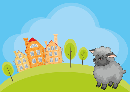 Vector childrens background with the image of a rural landscape and a ridiculous sheep