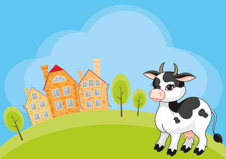 Vector childrens background with the image of a rural landscape and a ridiculous cow