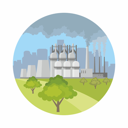 Industrial landscape with the image of a large metallurgical plant. Vector background. Illustration