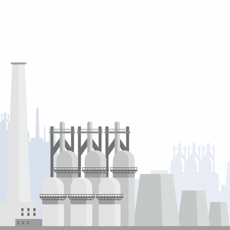 Industrial landscape with the image of a large metallurgical plant. Vector background. Иллюстрация