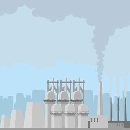 ironworks: Industrial landscape with the image of a large metallurgical plant. Vector background. Illustration