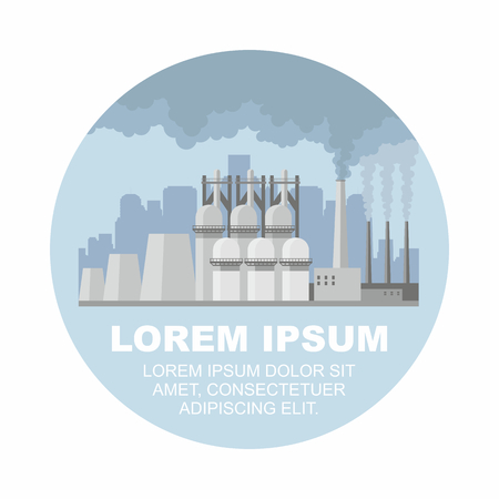 steel mill: Industrial landscape with the image of a large metallurgical plant. Vector background. Illustration
