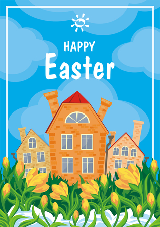 hamlet: Easter greeting card with a picture of snowdrops and old English houses. Vector spring background.