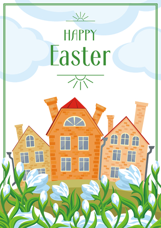 Easter greeting card with a picture of snowdrops and old English houses. Illustration