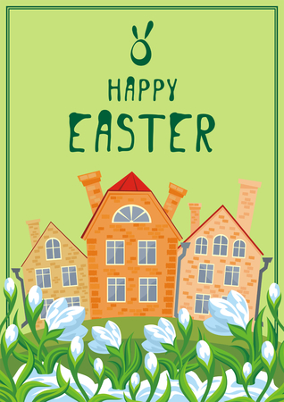 english countryside: Easter greeting card with a picture of snowdrops and old English houses. Illustration
