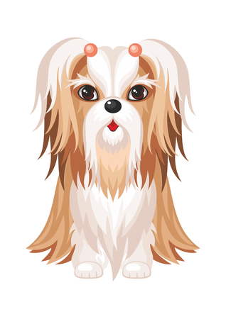 Vector image of a cute purebred dogs in cartoon style.