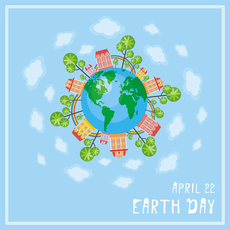 conservancy: Earth day. A poster with a picture of the planet, cities, trees, rainbows.