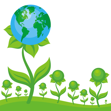 conservancy: Earth day. Vector background with the image of planet Earth in the form of fantastic flower