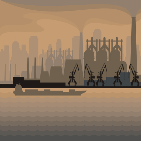 wharf: Sea landscape with the image of a harbour dock, ship and seaside industrial city.