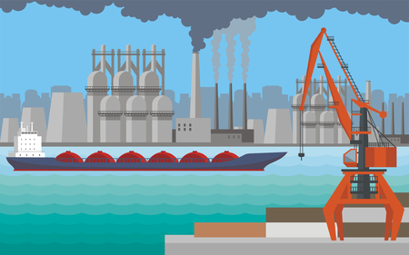 Cool sea landscape with the image of a harbour dock, ship and seaside industrial city. Illustration