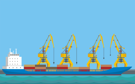 Artistic  sea landscape with the image of a harbour dock and cargo ship. Illustration