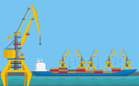 Blue sea landscape with the image of a harbour dock and cargo ship. Illustration
