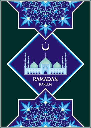Ramadan greeting card with the image of the big beautiful mosque and east ornament in Moorish style. Vector template Illustration