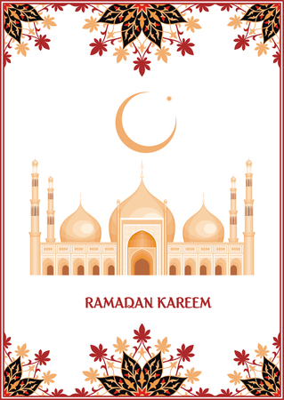 crescent: Ramadan greeting card with the image of the big beautiful mosque and east ornament in Moorish style. Vector template Illustration