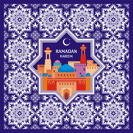 temperance: Ramadan greeting card with the image of the ancient Middle Eastern town with mosques and minarets decorated by a pattern in Mauritian style. Vector template