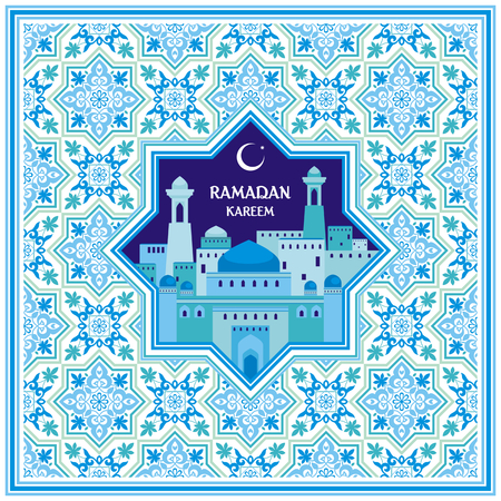 Ramadan greeting card with the image of the ancient Middle Eastern town with mosques and minarets decorated by a pattern in Mauritian style. Vector template