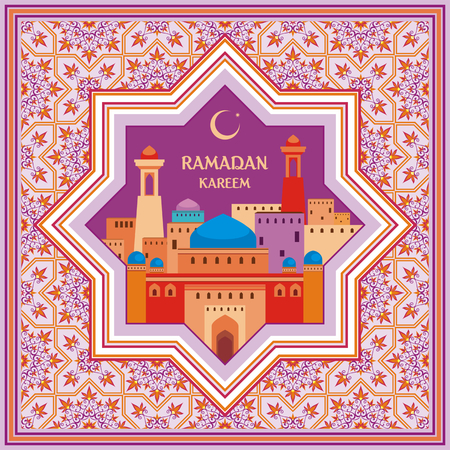 abstention: Ramadan greeting card with the image of the ancient Middle Eastern town with mosques and minarets decorated by a pattern in Mauritian style. Vector template