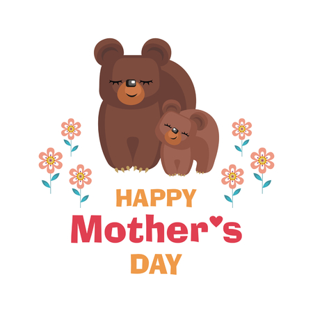 happy: Happy Mothers day. Greeting card with the image of cute animals with cubs. Vector illustration in cartoon style.