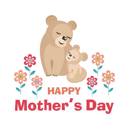Happy Mothers day. Greeting card with the image of cute animals with cubs. Vector illustration in cartoon style.