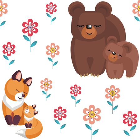 whelps: Mothers day seamless pattern. Childrens vector background in cartoon style with the image of cute animals and their cubs.