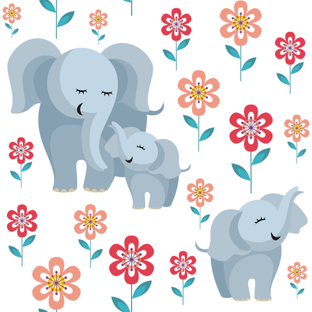 Mothers day seamless pattern. Childrens vector background in cartoon style with the image of cute animals and their cubs.