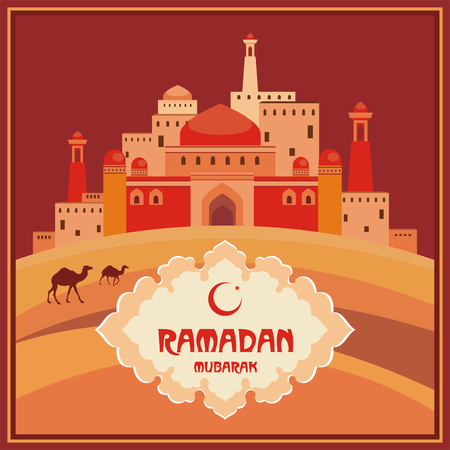 temperance: Ramadan greeting card with the image of ancient east city, mosques and minarets, the desert and camels