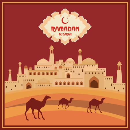 abstention: Ramadan greeting card with the image of ancient east city, mosques and minarets, the desert and camels