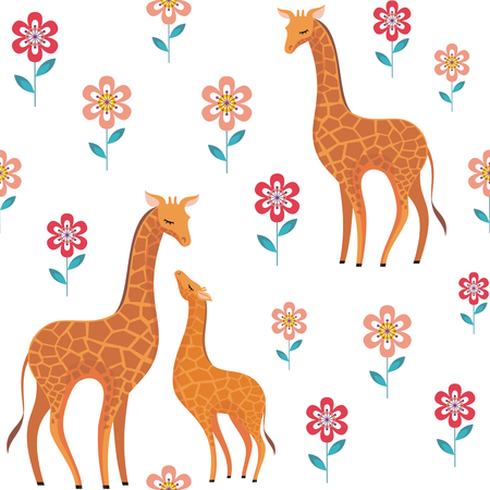 Childrens vector seamless pattern in cartoon style with the image of cute animals and their cubs. Illustration