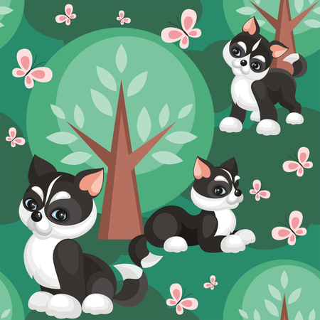 Childrens seamless pattern in cartoon style with lovely puppies huskies. Vector background.