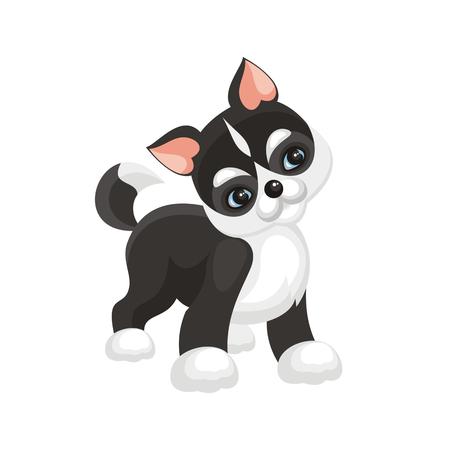 Funny husky puppy. Vector illustration in cartoon style.