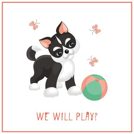 cute dog: Funny husky puppy. Vector illustration in cartoon style.