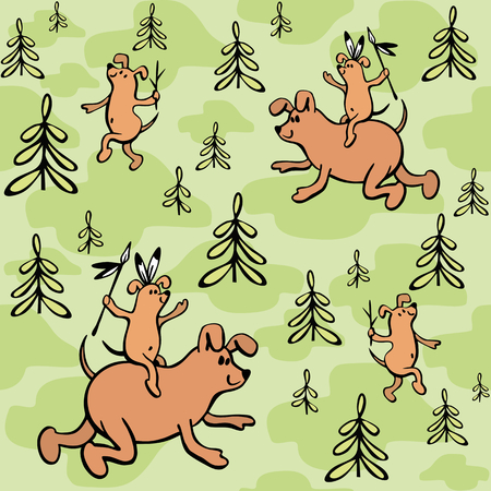 clouds: Childrens seamless pattern in cartoon style with cute dogs. Fathers day vector background.