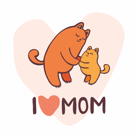 mother and baby: Mothers day greeting card in cartoon style with cute images.