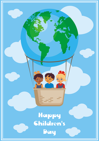 niños diferentes razas: Happy childrens day greeting card with the image of the hot air balloon, the planet Earth and children of different races. Vector illustration in cartoon style