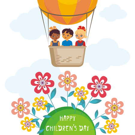 child protection: Happy childrens day greeting card with the image of the hot air balloon, the planet Earth and children of different races. Vector illustration in cartoon style