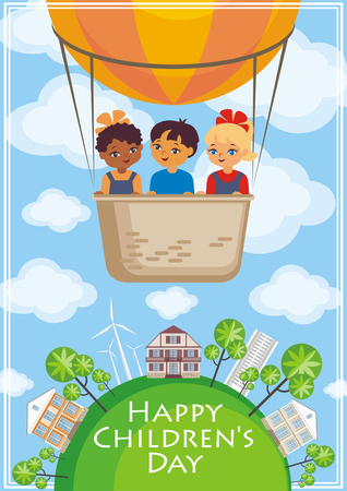 Happy childrens day greeting card with the image of the hot air balloon, the planet Earth and children of different races. Vector illustration in cartoon style