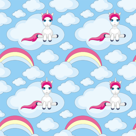 rainbow sky: Fairy children seamless pattern with the image of cute unicorns. Colorful vector background