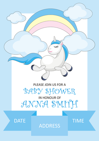Baby shower invitation template with the image of cute unicorn. Colorful vector background
