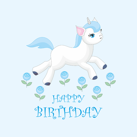 Happy birthday greeting card with the image of cute unicorn. Colorful vector illustration. Illustration