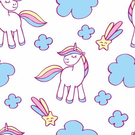 Fairy childhood seamless pattern with the image of cute unicorns. Colorful vector background Illustration